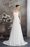 Classic Church A-line Sleeveless Zipper Chiffon Beading Bridal Gowns
