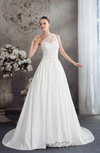 Traditional Outdoor A-line Sleeveless Half Backless Taffeta Sweep Train Bridal Gowns