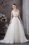 Fairytale Outdoor A-line Strapless Sleeveless Brush Train Bridal Gowns