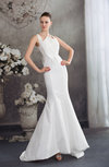 Classic Hall Zipper Taffeta Sweep Train Sequin Bridal Gowns