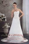 Classic Garden A-line Sleeveless Satin Court Train Bridal Gowns