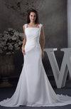 Elegant Hall Column Zipper Chiffon Chapel Train Bridal Gowns