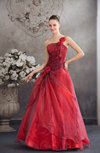Fairytale Hall Princess Asymmetric Neckline Sleeveless Flower Bridal Gowns