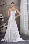 Elegant Garden Strapless Sleeveless Backless Satin Brush Train Bridal Gowns