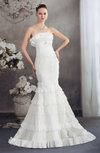 Elegant Church Strapless Zipper Lace Bridal Gowns