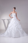 Elegant Hall Strapless Sleeveless Backless Taffeta Brush Train Bridal Gowns