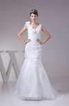 Modest Church Trumpet V-neck Sleeveless Lace up Bridal Gowns