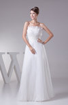 Casual Destination A-line Strapless Sleeveless Organza Pleated Bridal Gowns