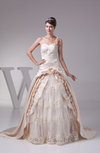 Disney Princess Church Ball Gown Asymmetric Neckline Court Train Rhinestone Bridal Gowns
