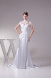 Elegant Hall Fishtail Illusion Short Sleeve Court Train Bridal Gowns