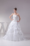 Elegant Garden Princess Strapless Taffeta Court Train Appliques Bridal Gowns