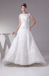 Vintage Hall Sleeveless Lace up Court Train Lace Bridal Gowns