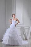 Elegant Hall One Shoulder Sleeveless Organza Chapel Train Beaded Bridal Gowns