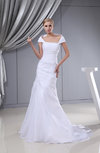 Vintage Hall Sheath Portrait Sleeveless Backless Organza Bridal Gowns
