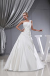 Gorgeous Church Asymmetric Neckline Sleeveless Lace up Chapel Train Ruching Bridal Gowns
