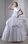 Vintage Hall Full Skirt High Neck Satin Floor Length Pick up Bridal Gowns