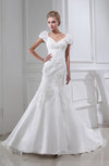 Modest Church Trumpet V-neck Short Sleeve Organza Chapel Train Bridal Gowns