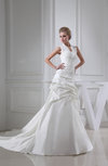 Elegant Church A-line High Neck Zip up Cathedral Train Bridal Gowns