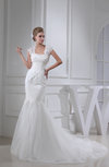 Classic Hall Mermaid Square Zip up Appliques Bridal Gowns