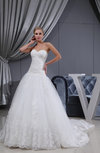 Gorgeous Hall Sweetheart Sleeveless Lace up Cathedral Train Bridal Gowns