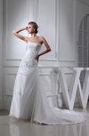 Elegant Hall A-line Strapless Organza Chapel Train Appliques Bridal Gowns