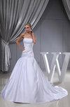 Plain Church Fit-n-Flare Zip up Satin Ruching Bridal Gowns
