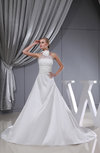 Modest Church A-line Sleeveless Taffeta Chapel Train Bridal Gowns