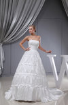 Elegant Church Princess Strapless Backless Taffeta Chapel Train Bridal Gowns