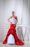 Cute Hall Strapless Zip up Taffeta Flower Bridal Gowns