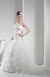 Disney Princess Church Scalloped Edge Zipper Organza Chapel Train Ruching Bridal Gowns