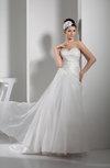 Elegant Church A-line Sweetheart Organza Court Train Bridal Gowns