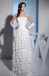 Romantic Church Sheath Sleeveless Zip up Chiffon Tiered Bridal Gowns