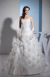 Romantic Church Halter Sleeveless Backless Organza Ruching Bridal Gowns