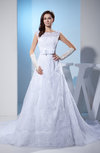 Modest Church Sheer Sleeveless Zipper Organza Chapel Train Bridal Gowns