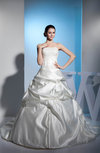 Fairytale Hall Princess Strapless Sleeveless Lace up Satin Bridal Gowns