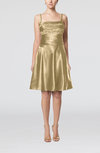Elegant A-line Thick Straps Zipper Elastic Woven Satin Bridesmaid Dresses