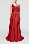 Plain A-line Asymmetric Neckline Chapel Train Sash Prom Dresses