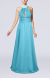 Elegant A-line Sleeveless Zip up Floor Length Evening Dresses