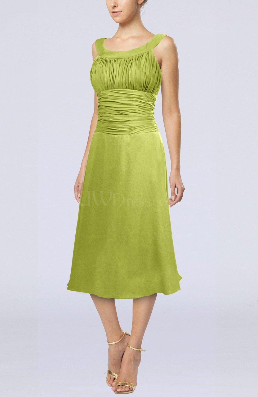 63788c16f772 Green Oasis Simple Sleeveless Zip up Chiffon Tea Length Prom Dresses (Style  D86773)