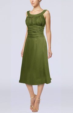 50c8c32c51c Olive Green Simple Sleeveless Zip up Chiffon Tea Length Prom Dresses