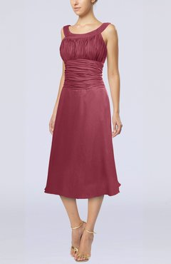 8d9e013b074 Wine Simple Sleeveless Zip up Chiffon Tea Length Prom Dresses