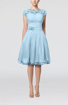 b103876437 Ice Blue Cinderella A-line Scalloped Edge Short Sleeve Chiffon Knee Length  Bridesmaid Dresses