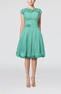 c0d9e2c9c67 Mint Green Cinderella A-line Scalloped Edge Short Sleeve Chiffon Knee  Length Bridesmaid Dresses