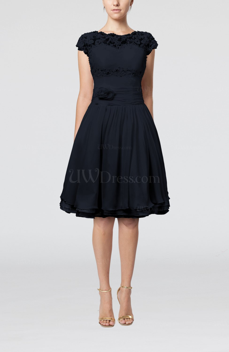 Navy Blue Cinderella A Line Scalloped Edge Short Sleeve Chiffon Knee Length Bridesmaid Dresses