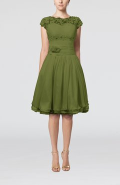 4e8d8fad114 Olive Green Cinderella A-line Scalloped Edge Short Sleeve Chiffon Knee  Length Bridesmaid Dresses