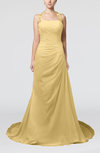 Glamorous A-line Zipper Chiffon Court Train Sequin Prom Dresses