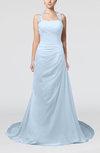Glamorous A-line Zipper Chiffon Court Train Sequin Prom Dresses