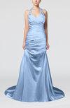Modern Church A-line Backless Elastic Woven Satin Ruching Bridal Gowns