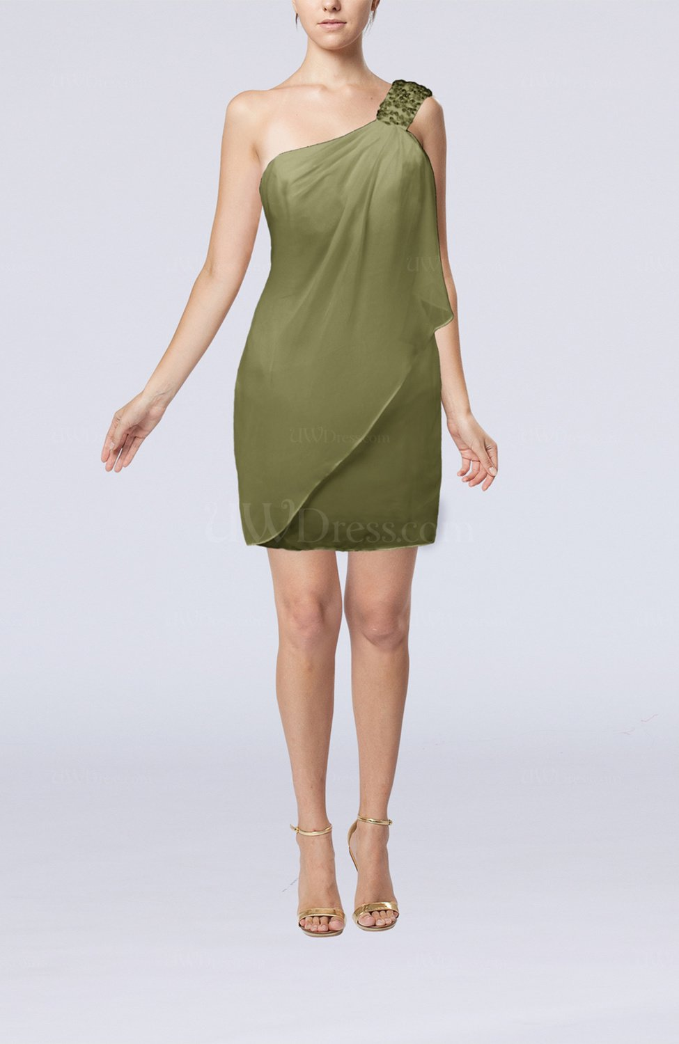 50903aa1cd7 Olive Green Modest Sheath Zip up Chiffon Short Ruching Club Dresses (Style  D34766)