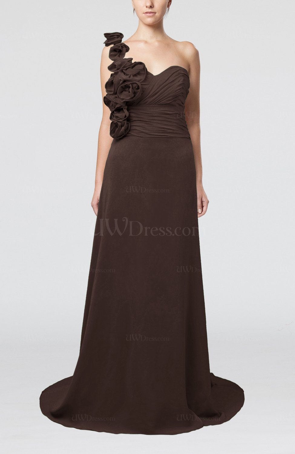 44d2f0db20f Chocolate Brown Elegant A-line Asymmetric Neckline Zip up Flower Bridesmaid  Dresses (Style D55861)
